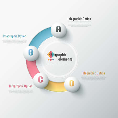 Modern infographic options banner with white spheres on color path. Vector. Can be used for web design and  workflow layout