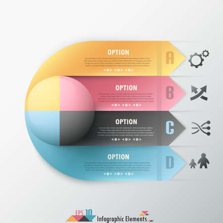 circle chart: Modern infographic options banner with colorful sphere on ribbons. Vector. Can be used for web design and  workflow layout
