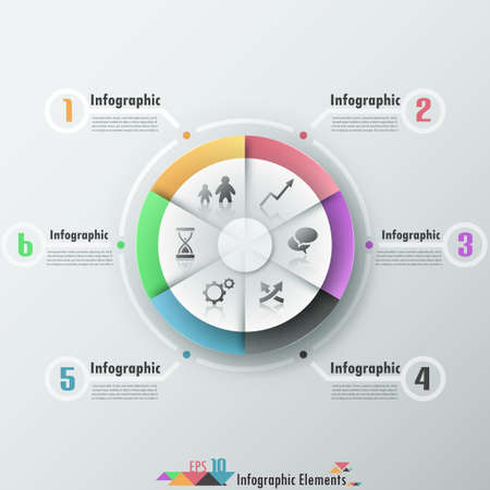Modern infographics options banner with 6-part pie chart and icons. Vector. Can be used for web design and  workflow layout Vector