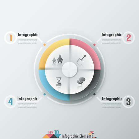 Modern infographics options banner with 4-part pie chart and icons. Vector. Can be used for web design and  workflow layout Vector