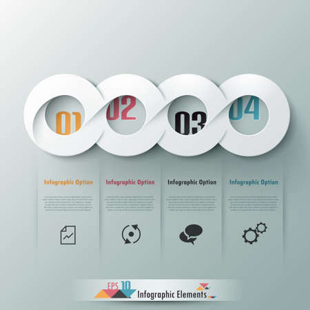 Modern infographic option banner with abstract round ribbon. Vector. Can be used for web design and  workflow layout Vector