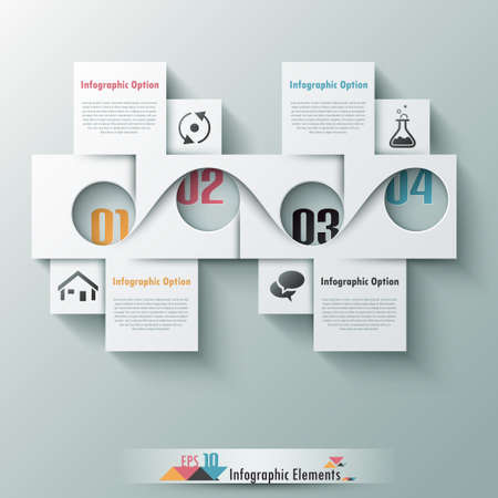 Modern infographic option banner with 3d white abstract corner paper shape on grey background. Vector. Can be used for web design and  workflow layout Vector