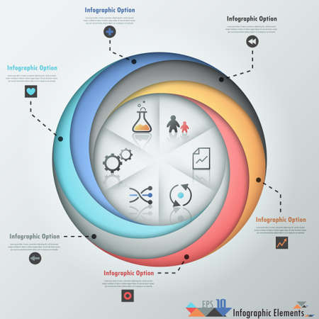 Modern infographics options banner with 6-part pie chart, spiral ribbons and icons. Vector. Can be used for web design and  workflow layout