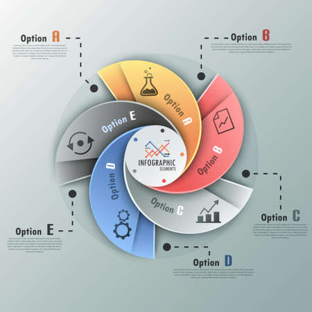 Modern infographics options banner with options template made of spiral ribbons. Vector