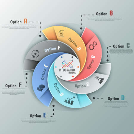 process diagram: Modern infographics options banner with options template made of spiral ribbons.