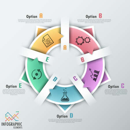 Modern infographics options banner with options template made of paper ribbons.  Vector