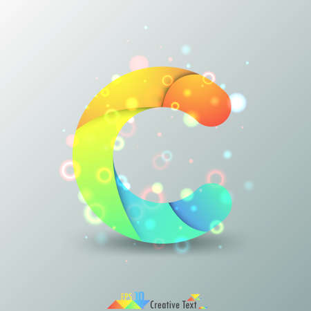 c design: Modern Capital Letter C made of colorful paper with light reflexions