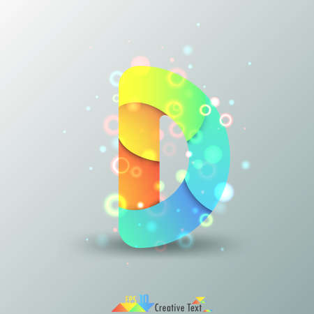 d: Modern Capital Letter D made of colorful paper with light reflexions