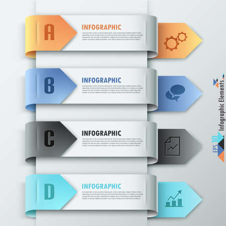 design solutions: Modern infographics options banner with colorful paper ribbons and icons. Vector. Can be used for web design and  workflow layout