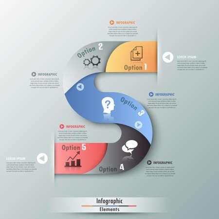 Moderne infographicsoptiesbanner met realistische kleurrijke lint en pictogrammen. Kan worden gebruikt voor webontwerp en werkstroomlay-out Stock Illustratie