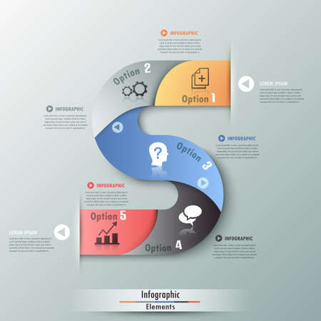 Modern infographics options banner with realistic colorful ribbon and icons.  Can be used for web design and  workflow layout