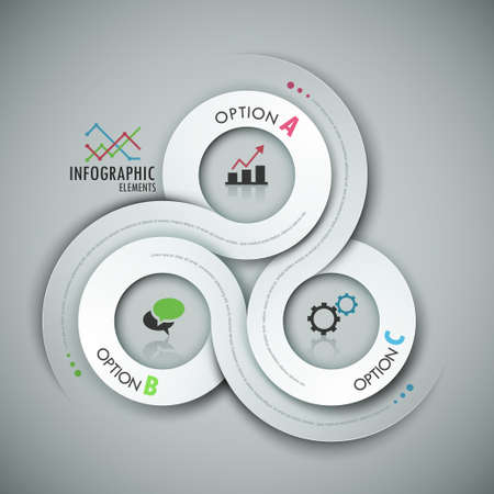 website layout: Modern infographic option banner with abstract round ribbon