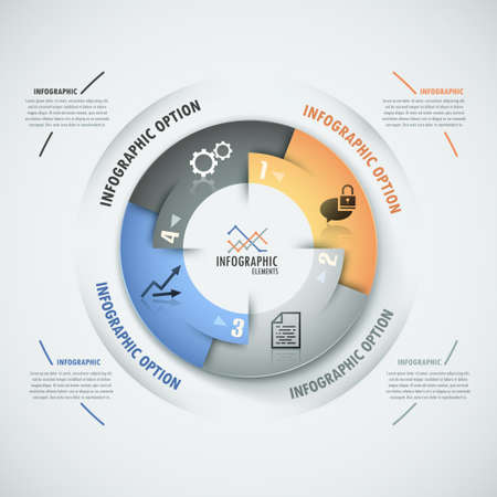 circle chart: Modern infographics options banner with process template made of colorful ribbons
