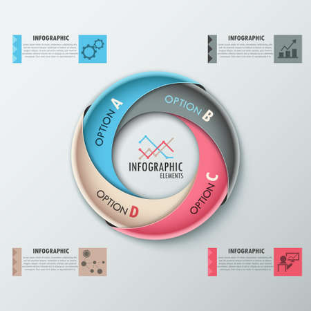 Modern infographics options banner with process template made of colorful ribbons. Vector. Can be used for web design and  workflow layout