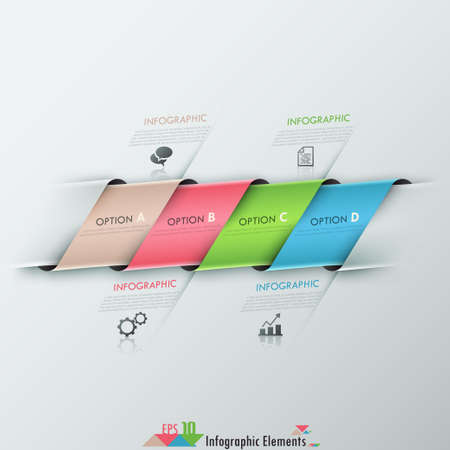 Moderne infographics opties banner met realistische kleurrijke gebonden lint. Vector. Kan gebruikt worden voor web design en workflow layout