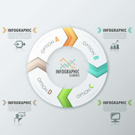Modern infographics options banner with process template made of 4 colorful ribbons. Vector. Can be used for web design and  workflow layout Vector