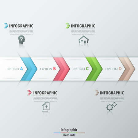 Modern infographics options banner with realistic colorful ribbon divided into 4 steps and icons. Vector. Can be used for web design and  workflow layout Vector