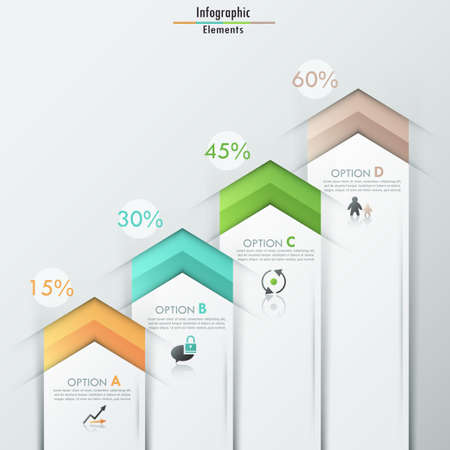Modern infographics options banner with realistic colorful ribbons for 4 options and icons. Vector. Can be used for web design and  workflow layout Ilustração