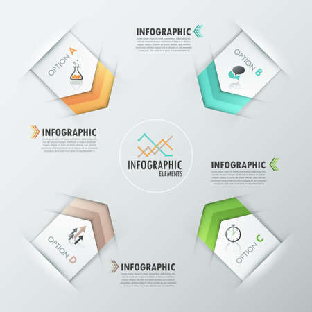 Modern infographics options banner with realistic colorful ribbons for 4 options and icons. Vector. Can be used for web design and  workflow layout Vector