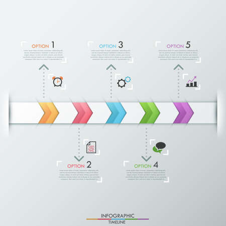 Modern infographics timeline template with realistic colorful ribbon divided into 5 steps and icons. Vector. Can be used for web design and  workflow layout Vector