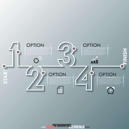 Modern infographics proces sjabloon met nummers gemaakt van witte lijn. Vector. Kan gebruikt worden voor web design en workflow layout