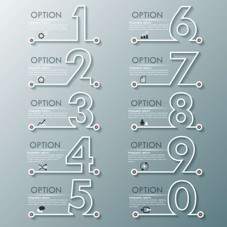 Modern infographics process template with set of numbers made of white line. Vector. Can be used for web design and  workflow layout