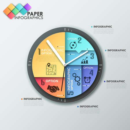 Modern infographics options banner with clock made of colorful sheets. Vector. Can be used for web design and  workflow layout Vector