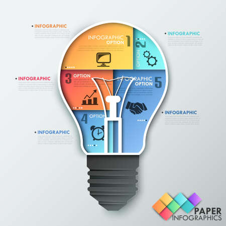 Modern infographics options banner with light bulb made of colorful sheets. Vector. Can be used for web design and  workflow layout Ilustracja
