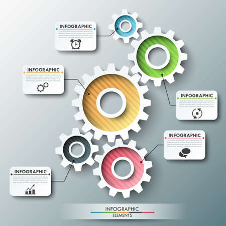 Modern infographic options banner with color gear chain. Vector. Can be used for web design and workflow layout Vector