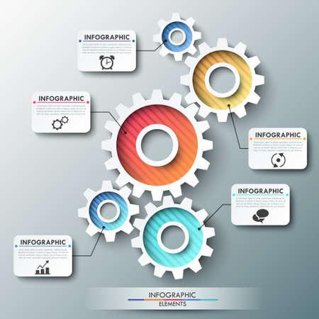 Modern infographic opties banner met kleur versnelling keten. Vector. Kan gebruikt worden voor web design en workflow layout