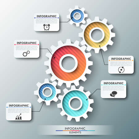 Modern infographic options banner with color gear chain. Vector. Can be used for web design and workflow layout