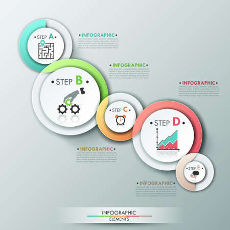 Modern infographics options banner with process template made of 5 colorful ribbons. Vector. Can be used for web design and  workflow layout Vector