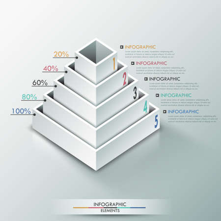parallelepiped: Modern infographics options banner with 3d pyramid for 5 options made of white blocks. Vector. Can be used for web design and  workflow layout