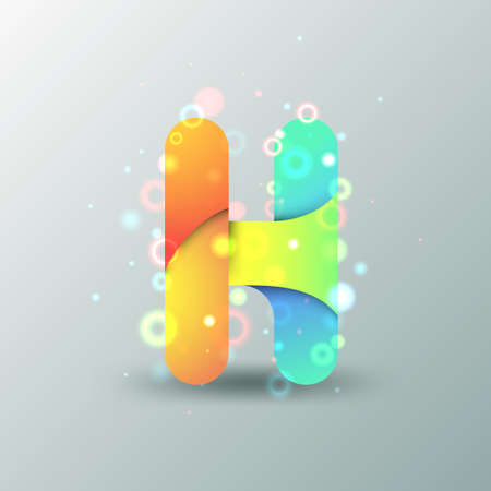 letter h: Modern Capital Letter H made of colorful paper with light reflexions