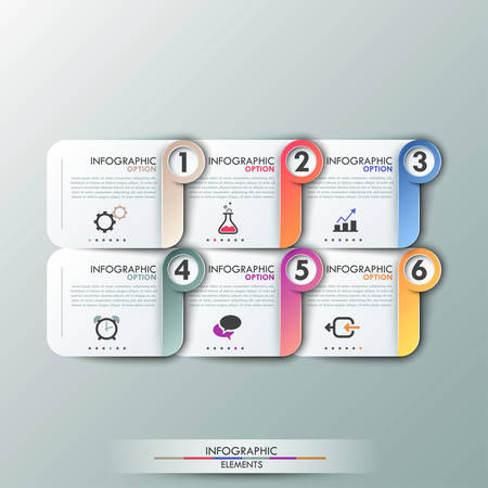 Modern infographics options template with paper sheets, icons for 6 options. Vector. Can be used for web design and workflow layout