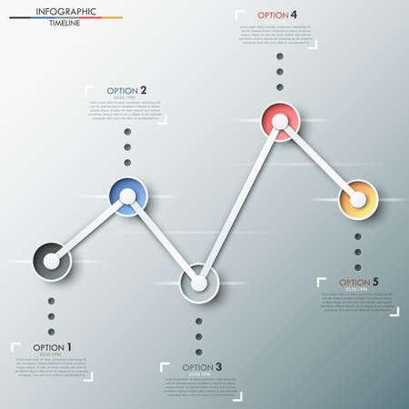 cover background time: Modern infographics timeline template with realistic colorful paper circles for 5 steps and icons. Vector. Can be used for web design and  workflow layout