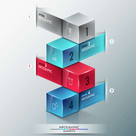 Modern infographics options banner with realistic colorful cubes and ribbons for 4 options. Vector. Can be used for web design and  workflow layout Vector