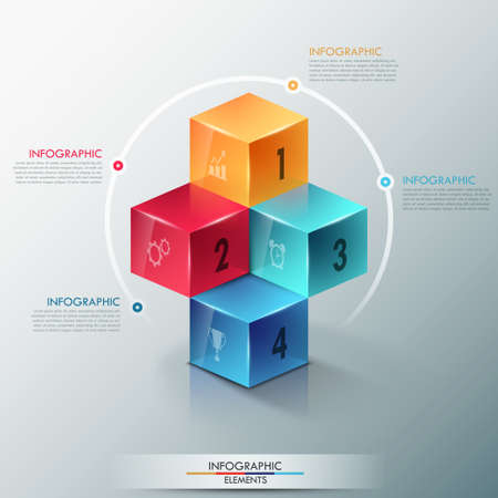 Modern infographics options template with realistic colorful cubes and 4 options, icons and editable text. Vector. Can be used for web design and workflow layout. Vector