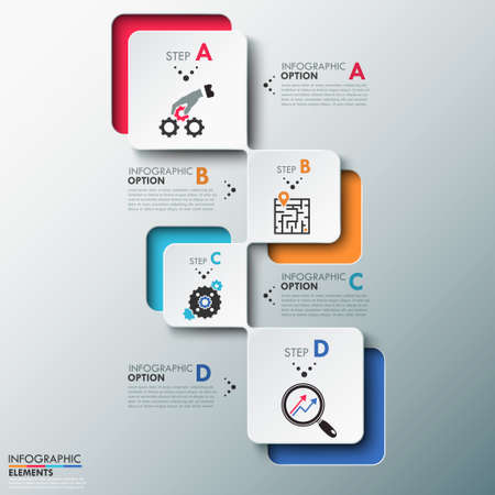 Modern infographics process template with paper sheets (rectangles with rounded corners), icons and text for 4 options. Vector. Can be used for web design and workflow layout Ilustracja
