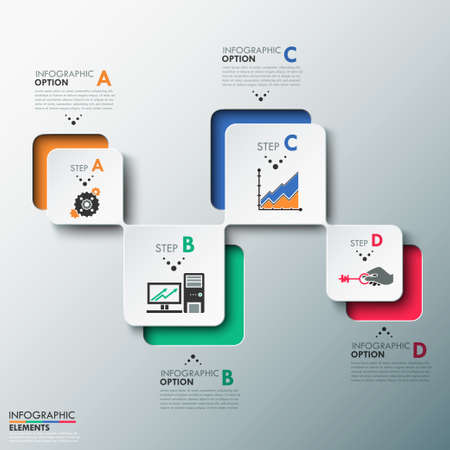 Modern infographics process template with paper sheets (rectangles with rounded corners), icons and text for 4 options. Vector. Can be used for web design and workflow layout Ilustração