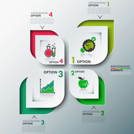Eco modern infographics options template with paper leaves , icons and text for 4 options. Vector. Can be used for web design and workflow layout Vector