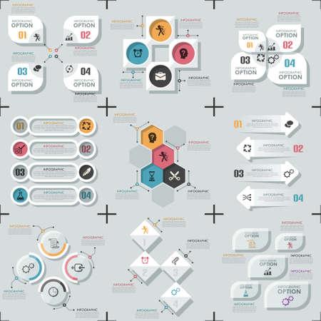 Set Of 9 Flat Minimal Infographics
