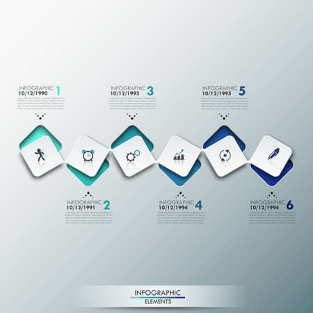 Modern infographics process template with paper sheets rectangles with rounded corners, icons and text for 6 steps. Illustration