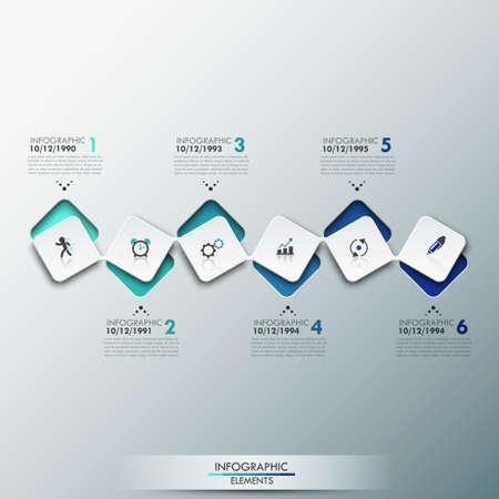 process: Plantilla de proceso infograf�a moderna con hojas de papel rect�ngulos con esquinas redondeadas, iconos y texto para 6 pasos.
