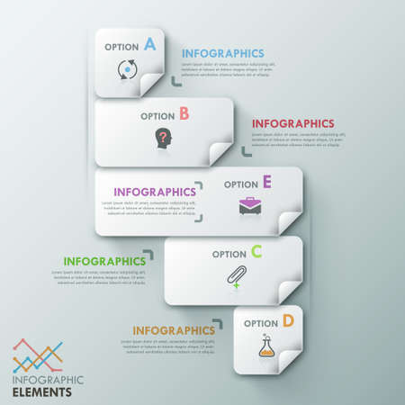 paper sheets: Modern infographic option template with 5 rectangle paper sheets and icons on grey background.
