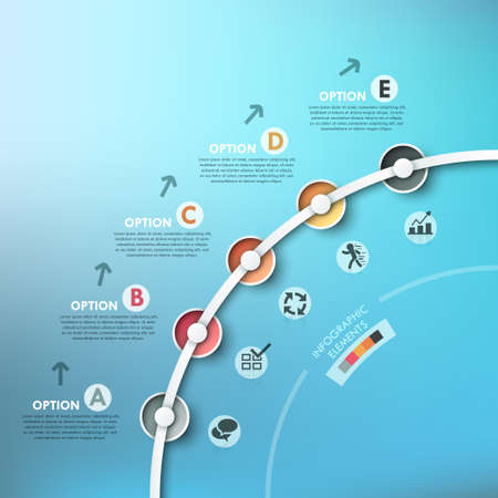 business process diagrams: Modern infographics process template with realistic colorful paper circles for 5 steps.