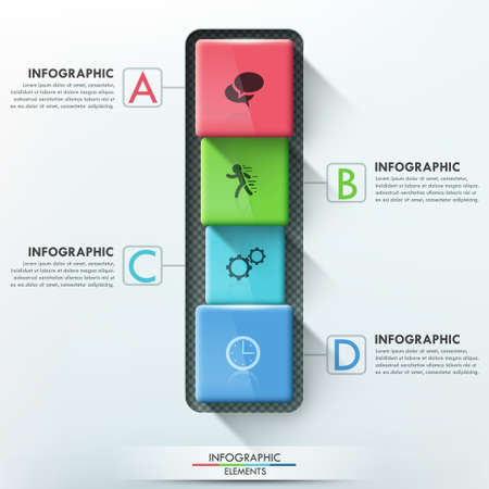 rounded edges: Modern infographics options banner with 4 realistic colorful blocks with rounded edges.