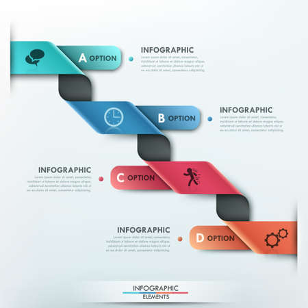 3d shape: Modern infographics options banner with 4 part curved paper ribbon and icons on bright background.