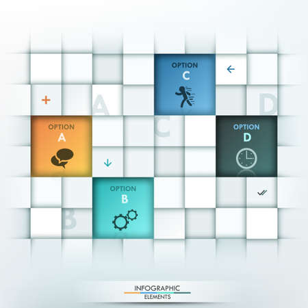 paper sheets: Modern infographic option template with 4 rectangle paper sheets and icons on grey background.