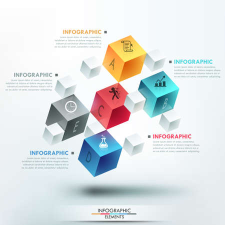 Modern infographics options template with 5 realistic colorful cubes and 4 options, icons and editable text on bright background.